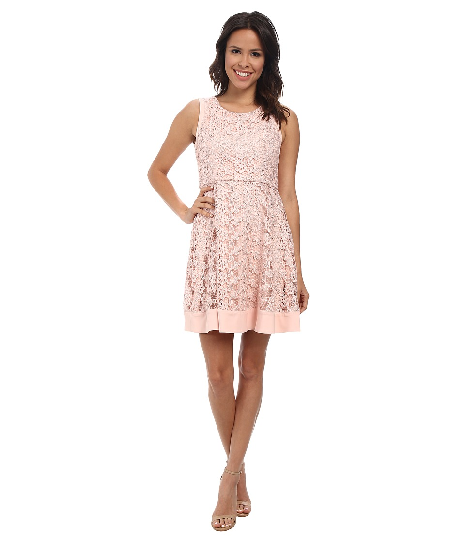 Jessica Simpson - Floral Fit and Flare Dress (Pink) Women's Dress