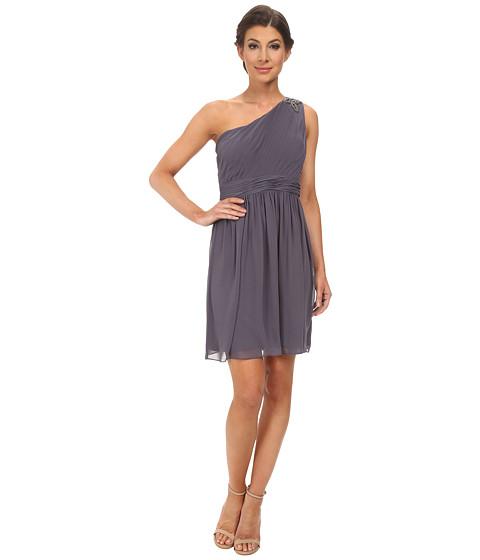 Jessica Simpson - One Shoulder Pleated Dress Stone (Slate Grey) Women