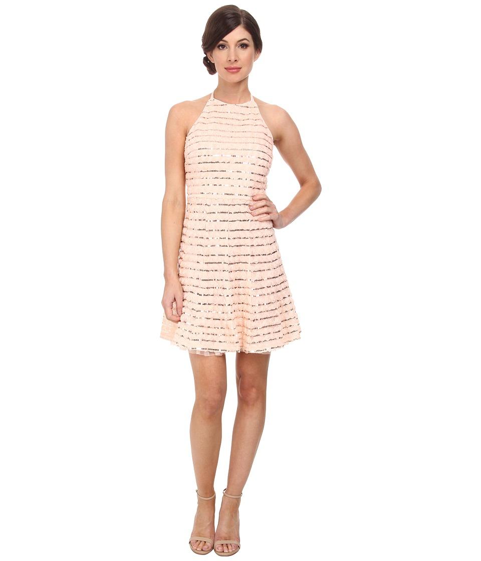 Jessica Simpson Rosette Halter Dress w/ Sequin (Blush) Women