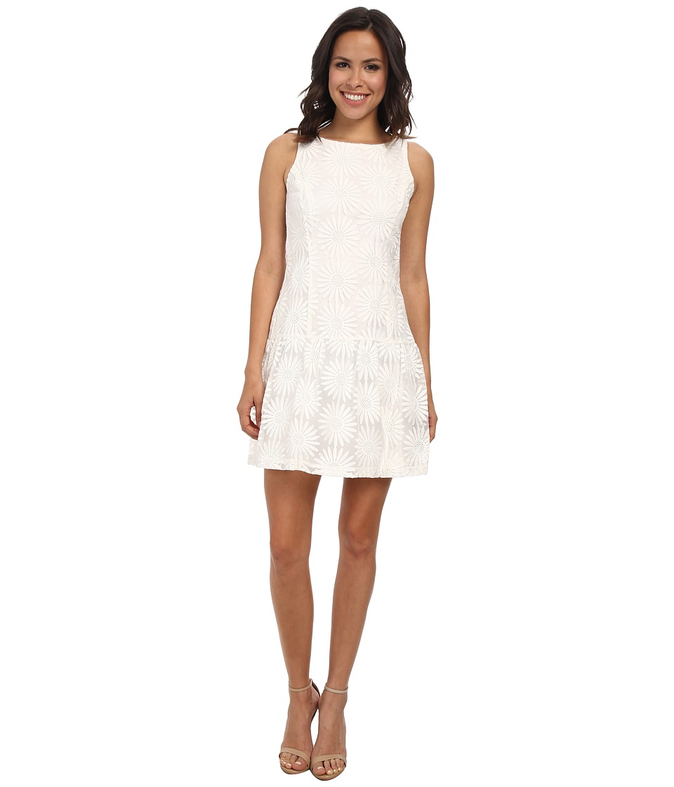 Jessica Simpson Drop Waist Fit and Flare Dress (Ivory) Women