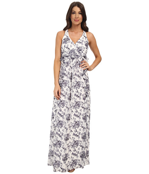 Jessica Simpson - Floral Print Ruffle Maxi Dress (Print) Women's Dress