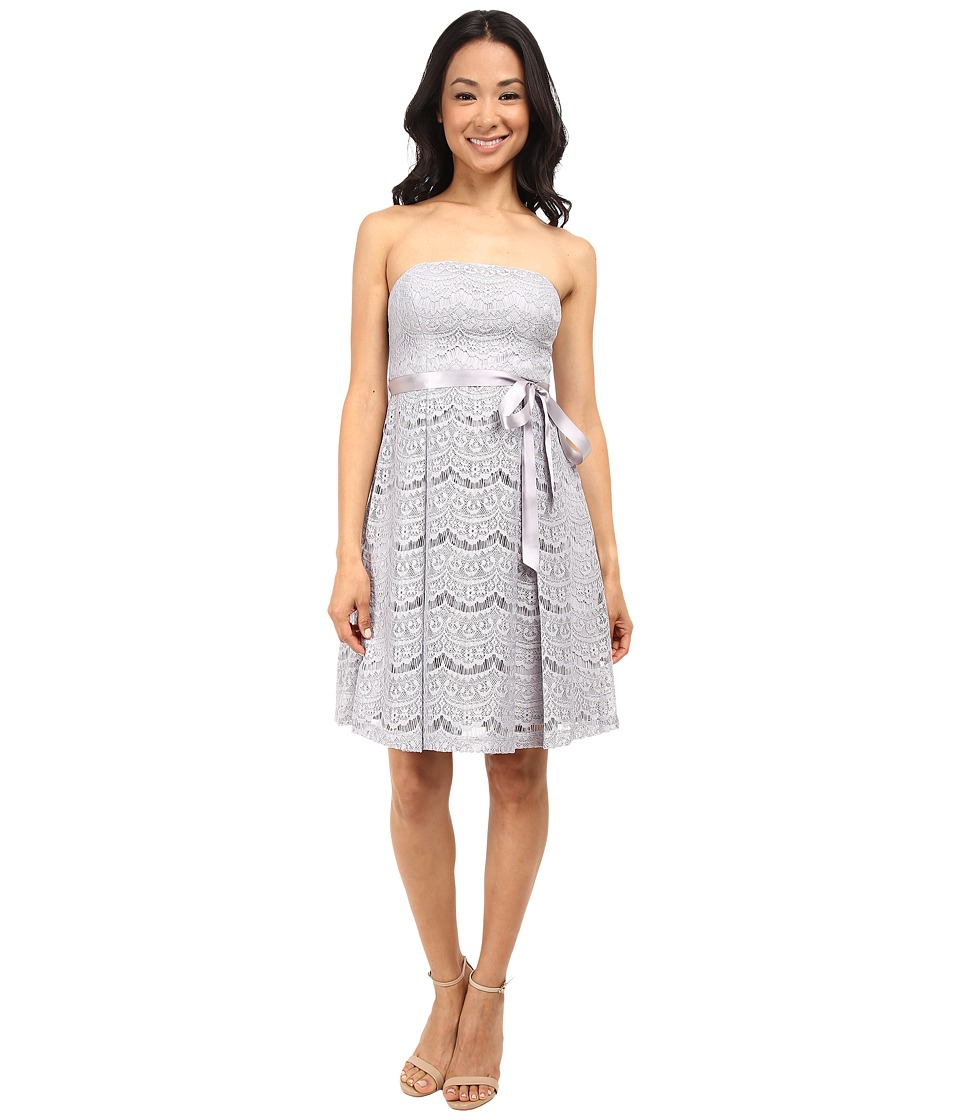 Jessica Simpson - Lace Fit and Flare w/ Ribbon Detail (Silver/Grey) Women's Dress