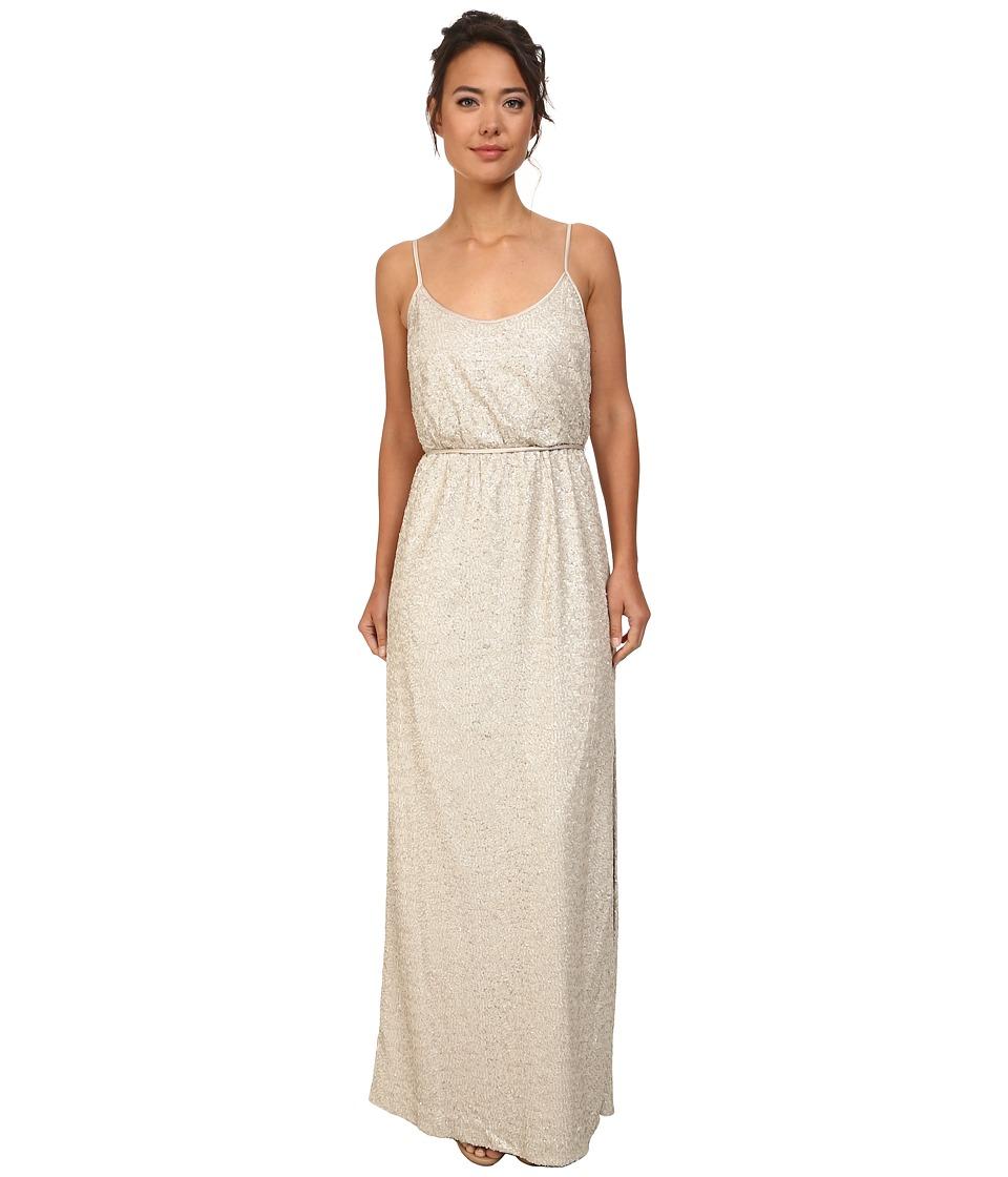 Jessica Simpson - Sequin Blouson Dress w/ Leg Slit (Taupe) Women's Dress