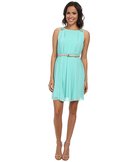 Jessica Simpson - Sleeveless Pleated Dress w/ Deep V Back (Pool Blue) Women's Dress