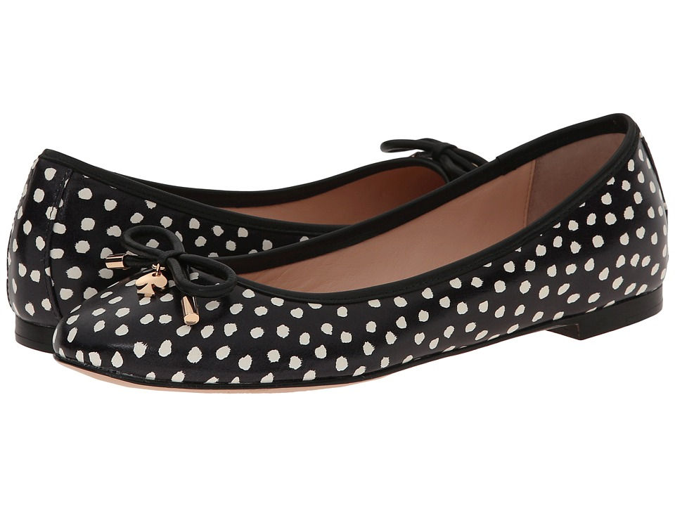 Kate Spade New York - Willa (Black Dot Printed Leather/Black Nappa) Women's Slip on Shoes