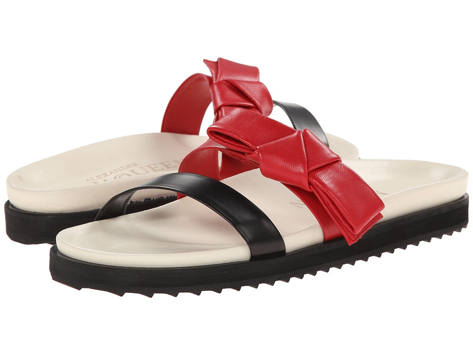 Alexander McQueen Flat Slide Sandal w/ Bow (Black/China Red) Women