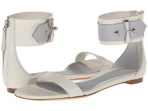 Alexander McQueen - Ankle Strap Flat Sandal (Silver White/Silver Blue) Women's Sandals
