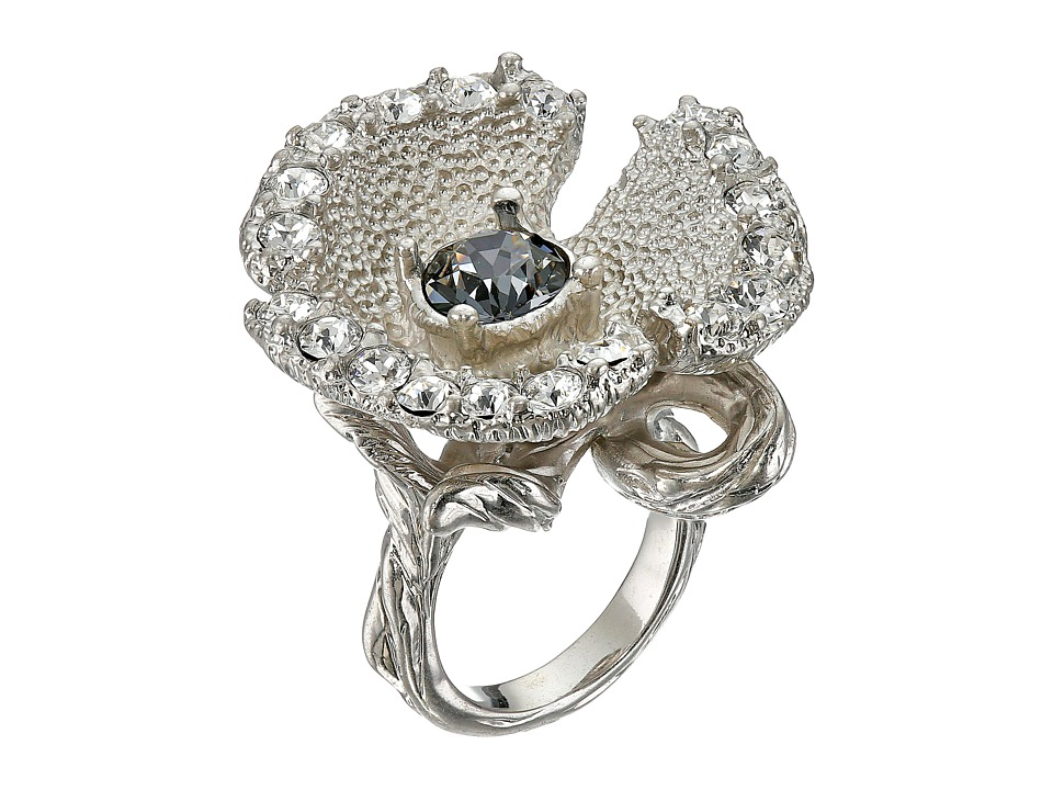 Alexander McQueen - Flower Ring (Crystal Silver Shade) Ring