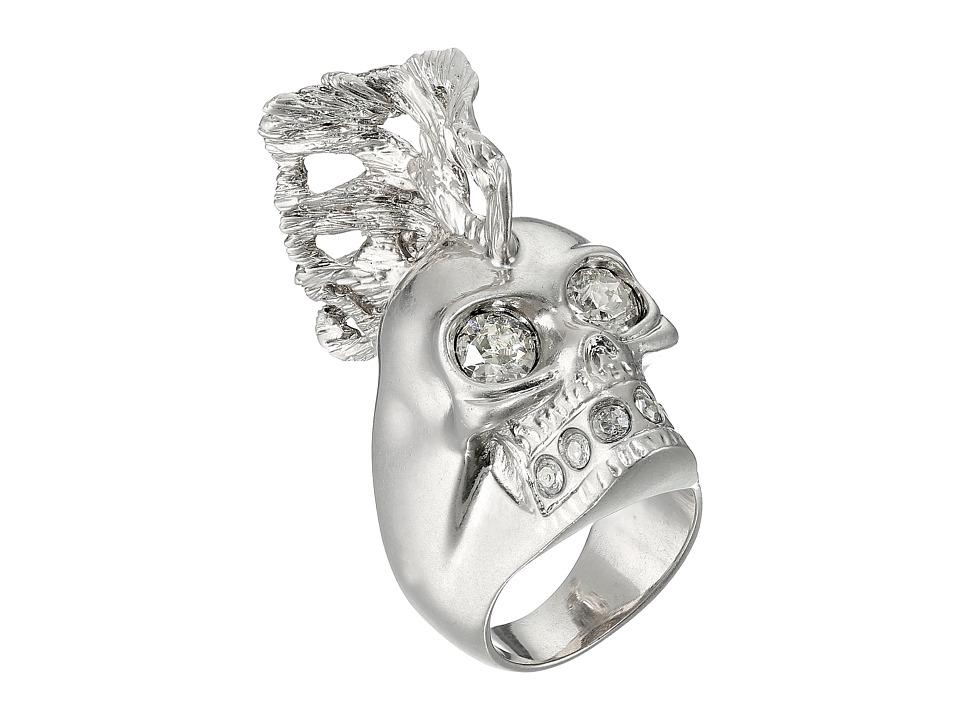 Alexander McQueen - Skull Punk Fish Small Ring (Crystal Silver Shade) Ring