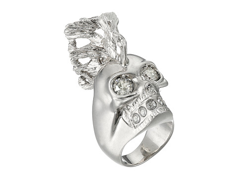 Alexander McQueen - Skull Punk Fish Small Ring (Crystal Silver Shade) Ring