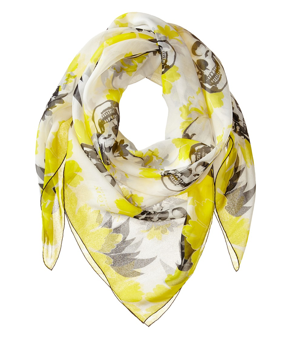 Alexander McQueen - Multiskull Bloom Scarf (Lemon/Black) Scarves