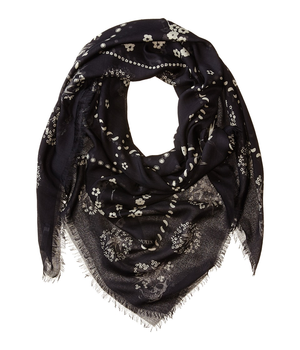 Alexander McQueen - Swallow Check Scarf (Black/Light Grey) Scarves