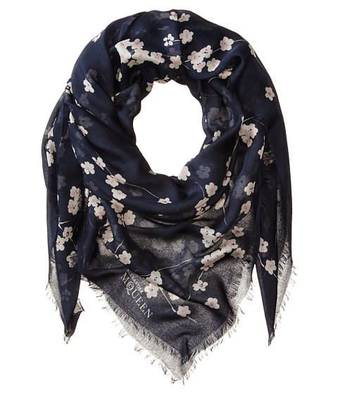 Alexander McQueen - Blossom Square Scarf (Midnight Blue/White) Scarves