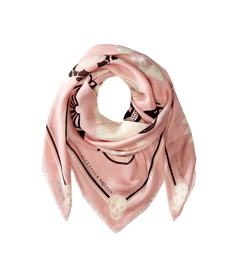 Alexander McQueen - Lotus Skull Scarf (Pink/White) Scarves