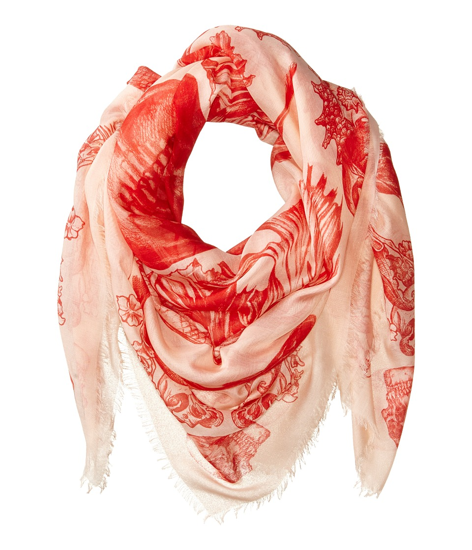 Alexander McQueen - Aquatic Skull Scarf (Rose/Red) Scarves