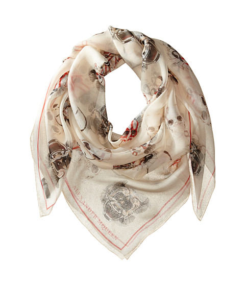 Alexander McQueen - Mask Square Scarf (Ivory/White) Scarves