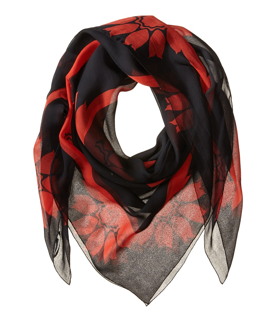 Alexander McQueen - Flower Border Scarf (Black/Red) Scarves