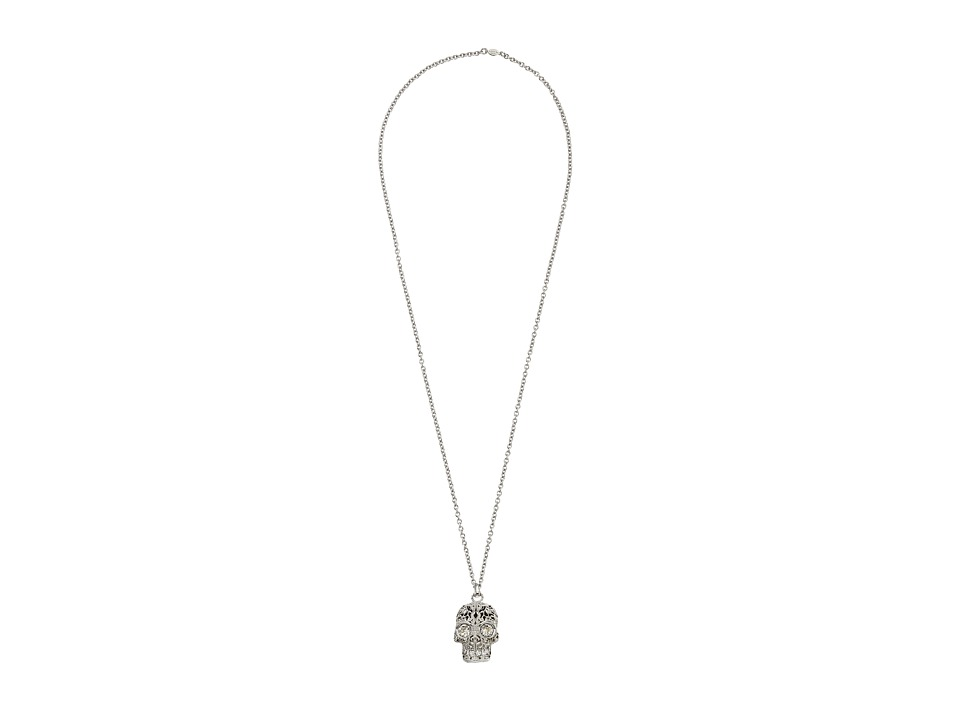 Alexander McQueen - Skull Pendant Filigree (Crystal Silver Shade) Necklace