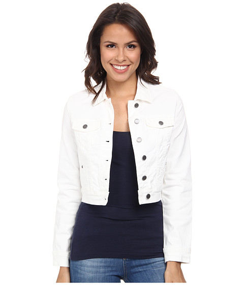 Liverpool - Cropped Pigment-Dyed Stretch Twill Denim Jacket (White) Women