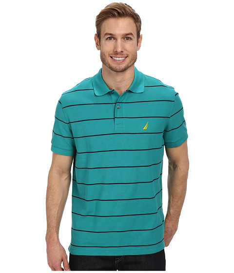 Nautica - Striped Performance Deck Polo Shirt (Teal Blue) Men's Short Sleeve Pullover