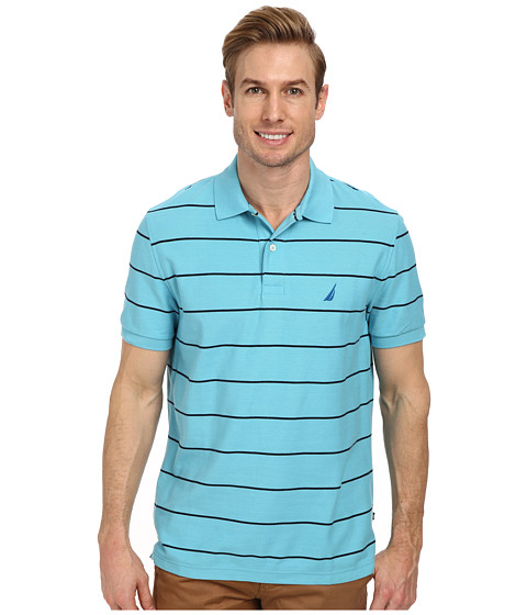Nautica - Striped Performance Deck Polo Shirt (Cabana Blue) Men
