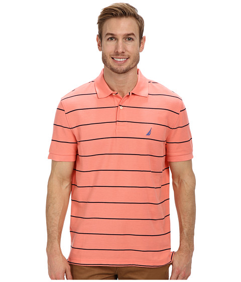 Nautica - Striped Performance Deck Polo Shirt (Pale Coral) Men's Short Sleeve Pullover