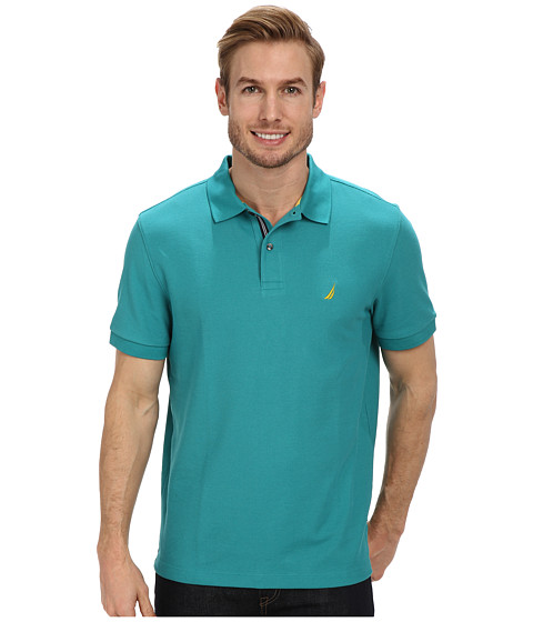 Nautica - S/S Solid Deck Shirt (Teal Blue) Men's Short Sleeve Pullover