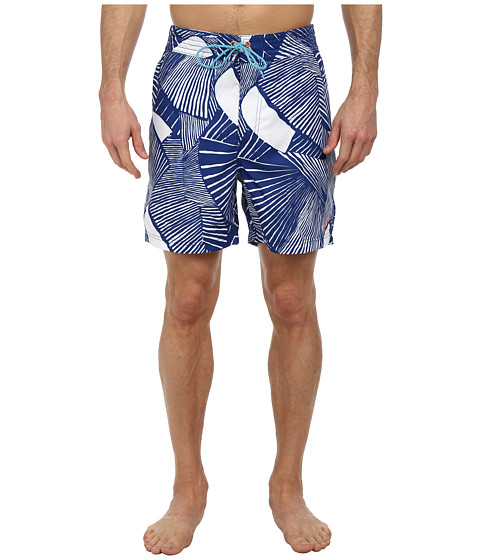 Nautica - Geometric Fish Print Trunk (Satellite Blue) Men's Swimwear