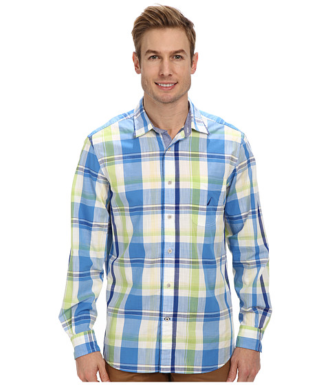 Nautica - L/S Large Plaid (Clear Dark Blue) Men's Clothing