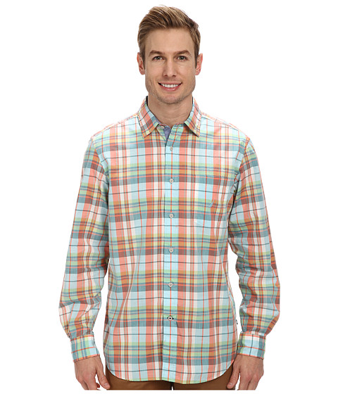 Nautica - L/S Medium Plaid (Big Sur Green) Men's Clothing