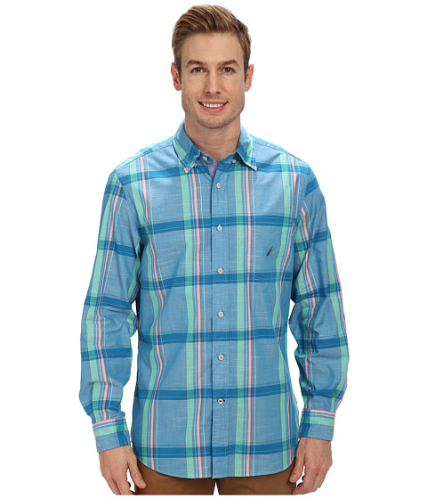 Nautica - L/S Large Plaid (Turkish Tile) Men's Clothing