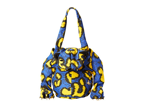 Vivienne Westwood - Tiger Bag with Paws in Leopard Print (Yellow/Blue) Tote Handbags