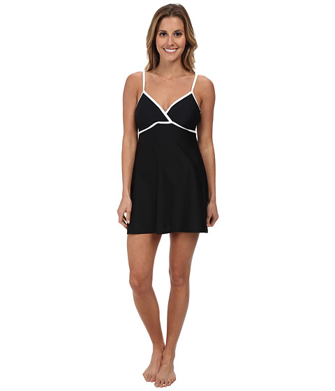 Speedo - Wrap Front Swimdress (Black) Women's Swimwear