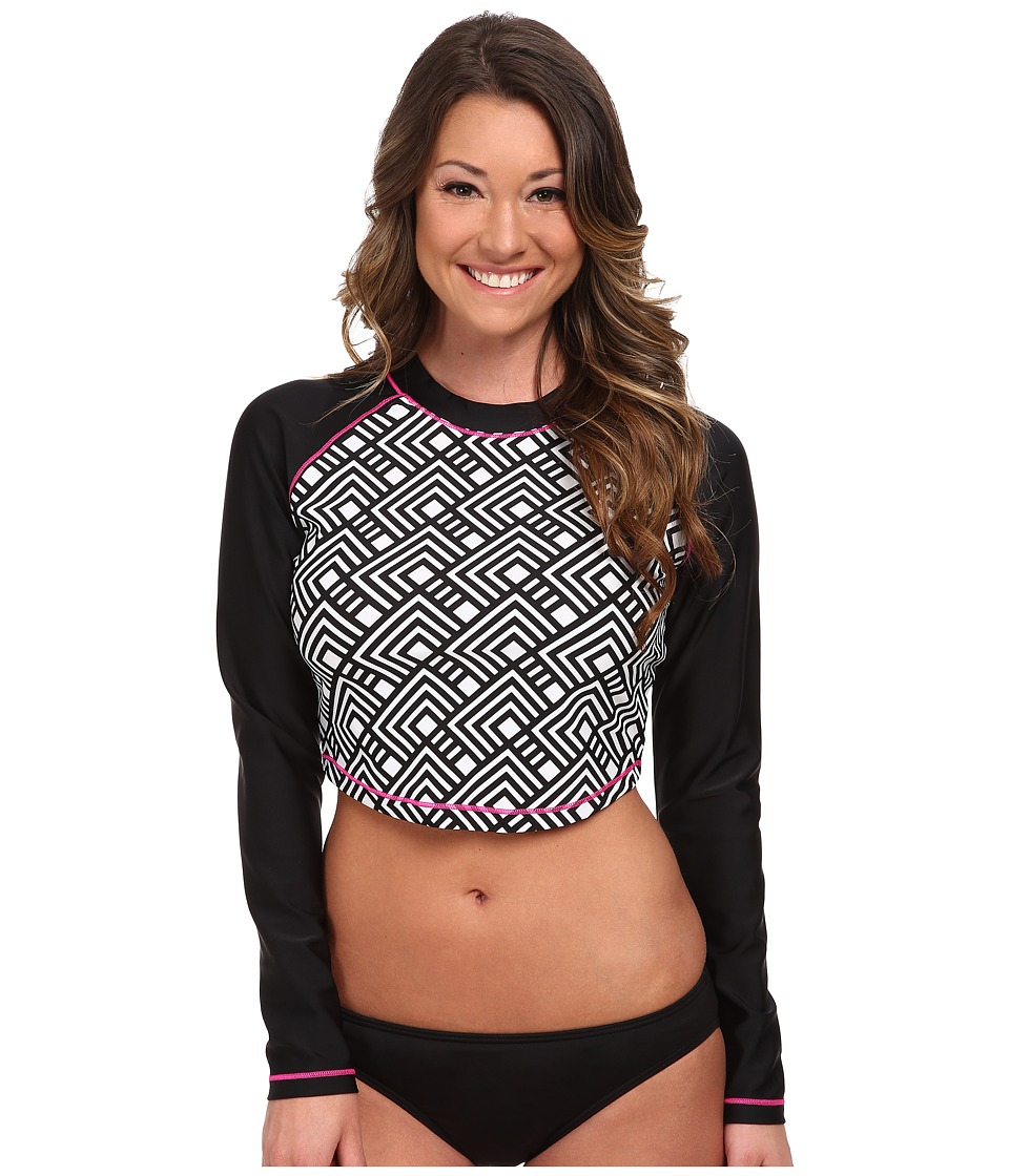Speedo - Print Cropped Rashguard (Black) Women's Swimwear