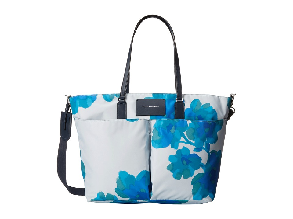 Marc by Marc Jacobs - Preppy Legend Painted Defaced Floral Elizababy (Cloud Blue Multi) Diaper Bags