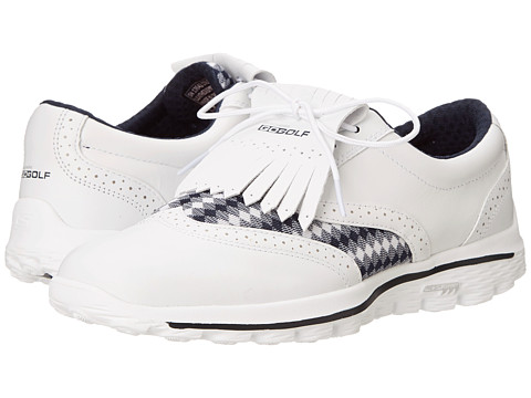 SKECHERS Performance - Go Golf Kiltie (White/Navy) Women's Shoes