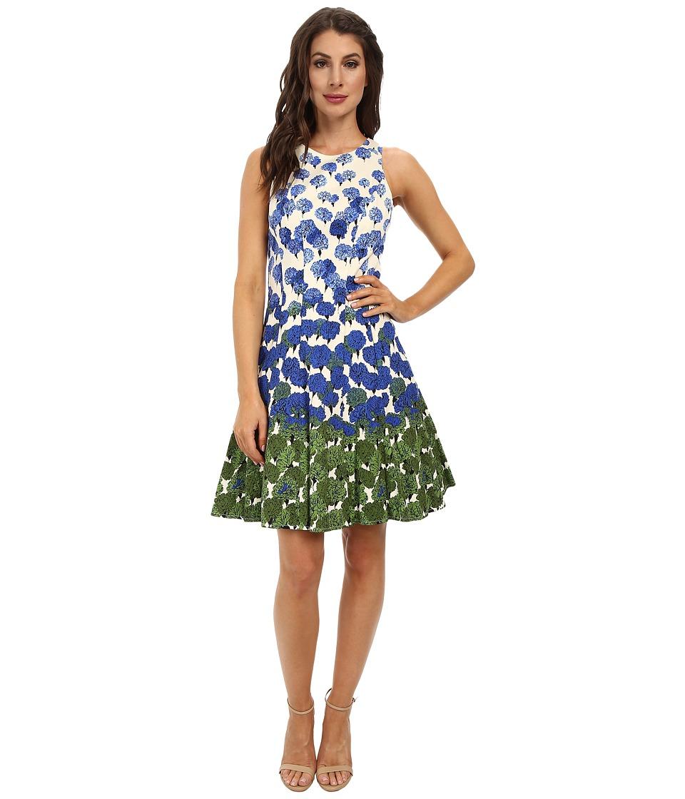 Maggy London - Vintage Flower Border Cotton Sateen Fit Flare Dress (Cream/Periwinkle) Women