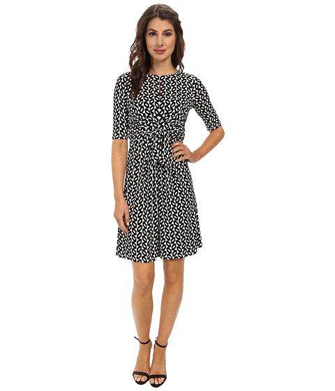 Maggy London - Bead Chain Printed Jersey Knot Front Sheath Dress (Cream/Black) Women