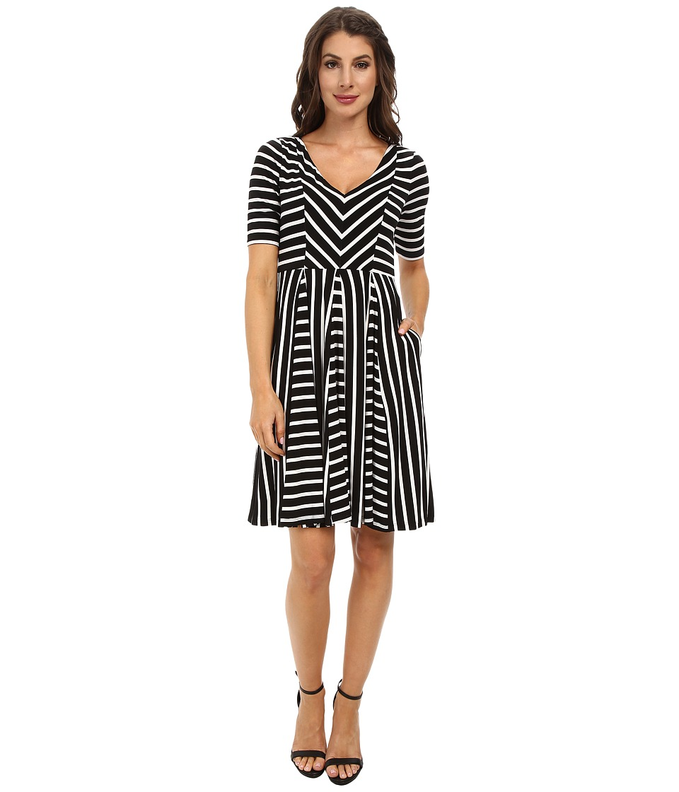Maggy London - Flippy Stripe Fit Flare Dress (Black/Soft White) Women's Dress