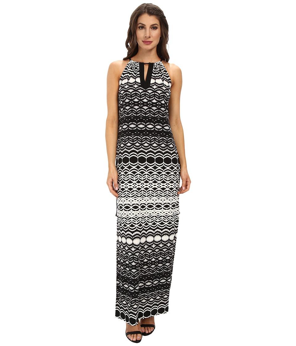 Maggy London - Brushed Geo Printed Matte Jersey Maxi Dress (Cream/Black) Women