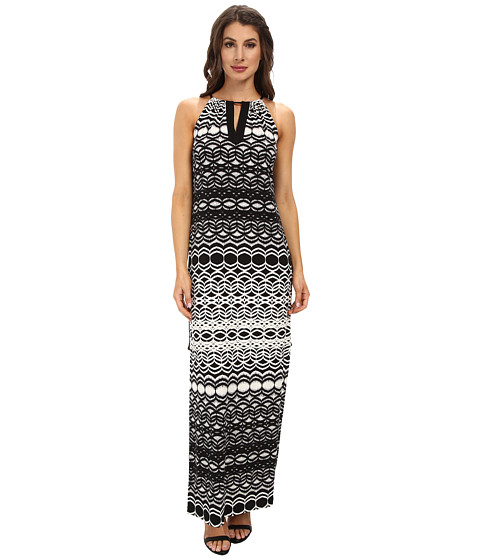 Maggy London - Brushed Geo Printed Matte Jersey Maxi Dress (Cream/Black) Women