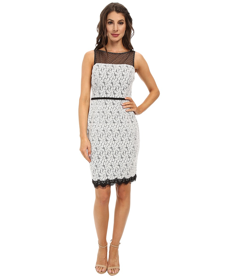 Maggy London - Scroll Dot Lace Mixed Novelty Sheath Dress (White/Black) Women's Dress