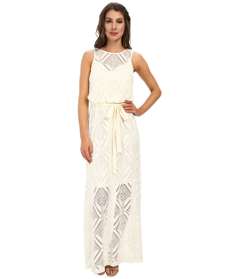 Maggy London - Diamond Lace Blouson Maxi Dress (Cream) Women
