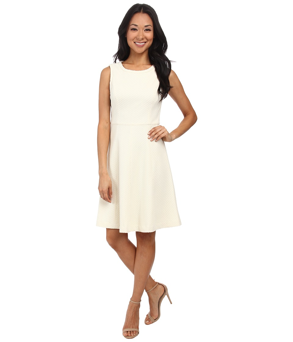 Maggy London - Bonded Mesh Fit Flare Dress (Soft White/Ivory) Women's Dress