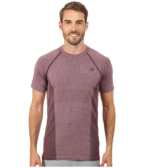 New Balance - M4M Seamless Short Sleeve (Burgundy) Men's T Shirt