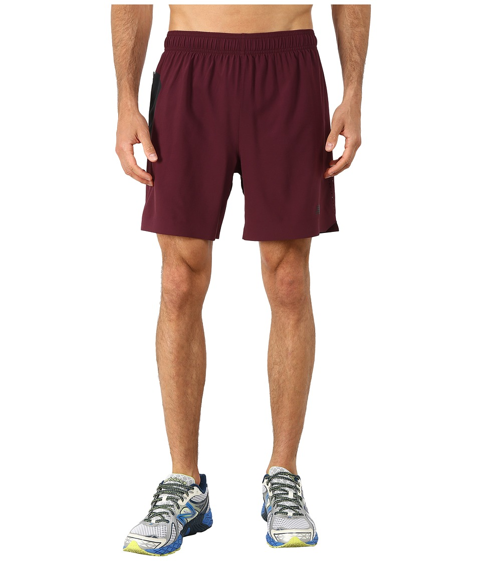 New Balance - 7 Stretch Woven Short (Burgundy/Black) Men
