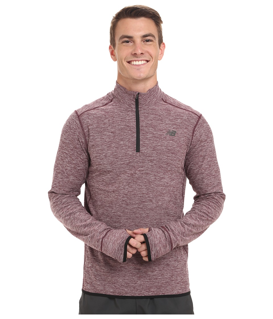 New Balance - Space Dye Quarter Zip (Burgundy Heather) Men's Long Sleeve Pullover