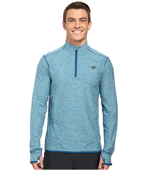 New Balance - Space Dye Quarter Zip (Deep Water Heather) Men's Long Sleeve Pullover