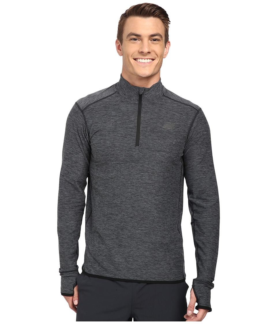 New Balance - Space Dye Quarter Zip (Black Heather) Men's Long Sleeve Pullover