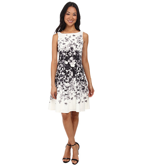 Maggy London - Graduated Floral Light Weight Scuba Fit Flare Dress (Soft White/Grey) Women's Dress